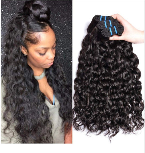 Soft 100 Brazilian Human Hair Extensions / Curly Hair Bundles With Closure