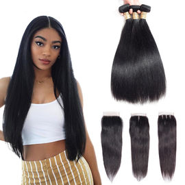Chiny Three Part 4 X 4 Closure 100 Human Hair Extensions / Remy Human Hair Straight fabryka